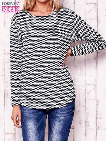 Granatowa bluzka z motywem graficznym