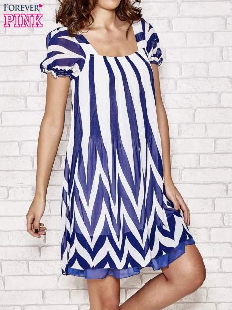 Granatowa sukienka w paski z bufiastymi rękawkami