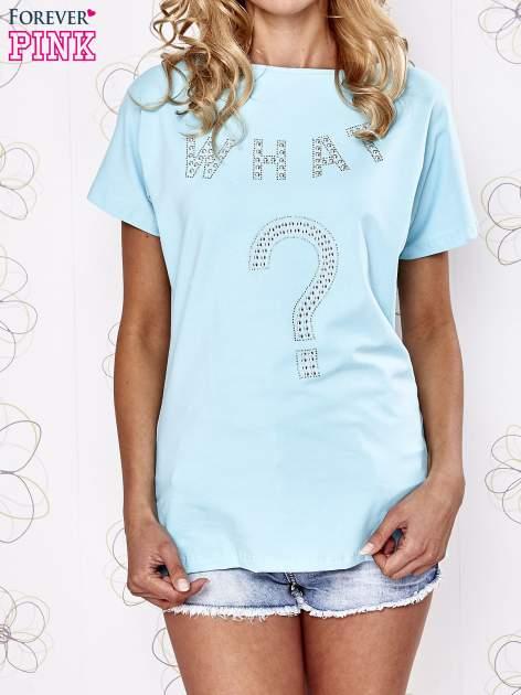 Granatowy t-shirt z aplikacją z dżetów WHAT?