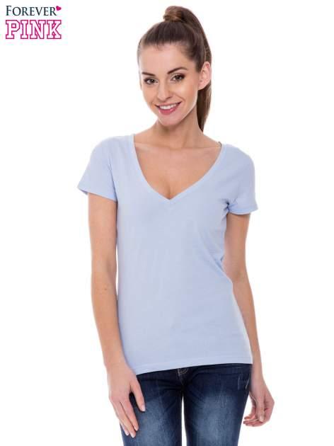 Jasnoniebieski basicowy t-shirt z dekoltem w serek