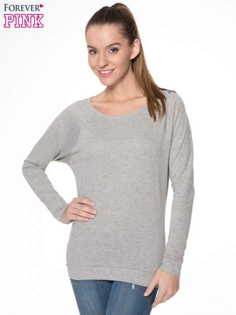 Jasnoszara melanżowa bawełniana bluzka z rękawami typu reglan