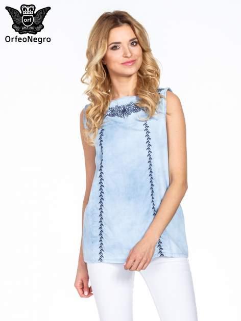 Jeansowa bluzka koszulowa z haftem