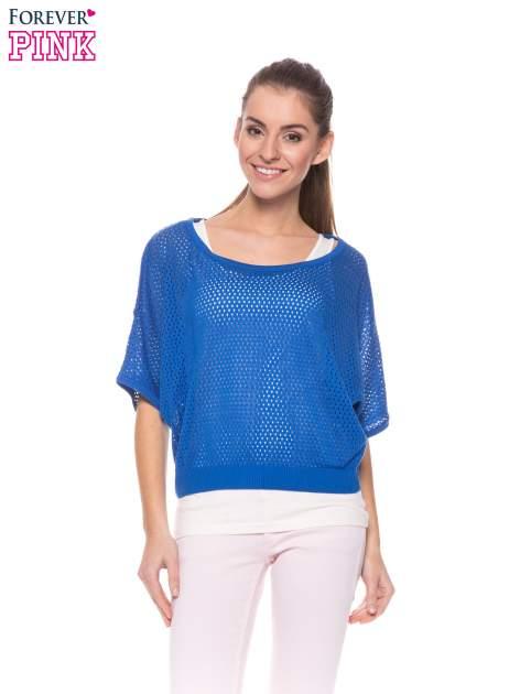 Kobaltowy siateczkowy sweter oversize