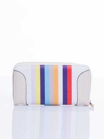 Kremowy portfel w paski z kieszonką