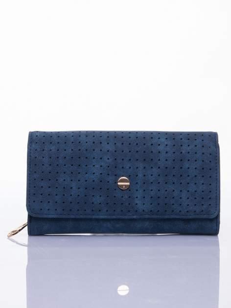 Niebieski ażurowany portfel ze złotym suwakiem