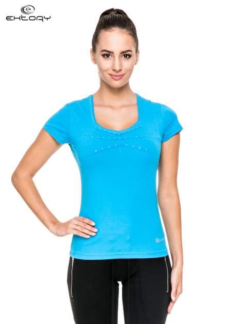 Niebieski damski t-shirt sportowy z dżetami