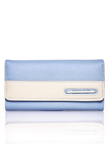 Niebieski portfel z beżowym wykończeniem