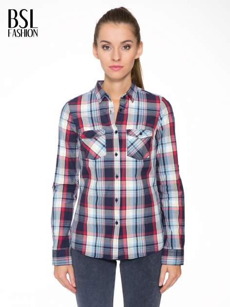 Niebiesko-czerwona koszula w kratę z kieszeniami