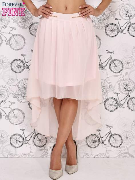 Różowa asymetryczna spódnica z suwakami