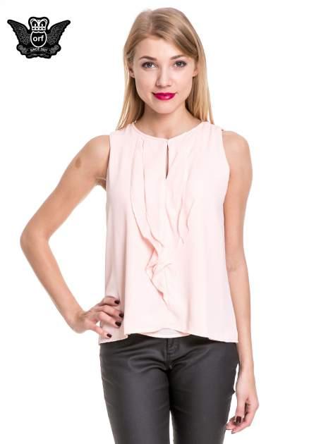 Różowa elegancka koszula z żabotem