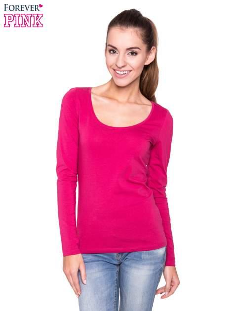 Różowa gładka bluzka z długim rękawem