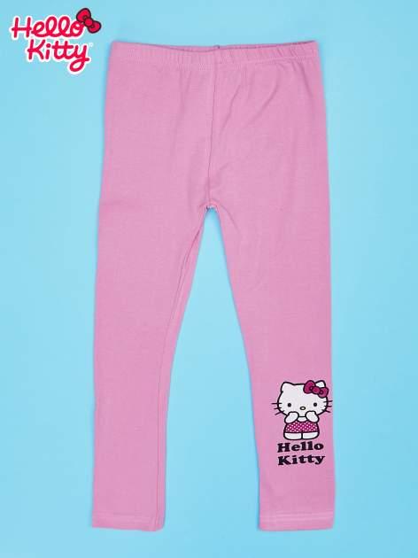 Różowe legginsy dla dziewczynki z motywem HELLO KITTY