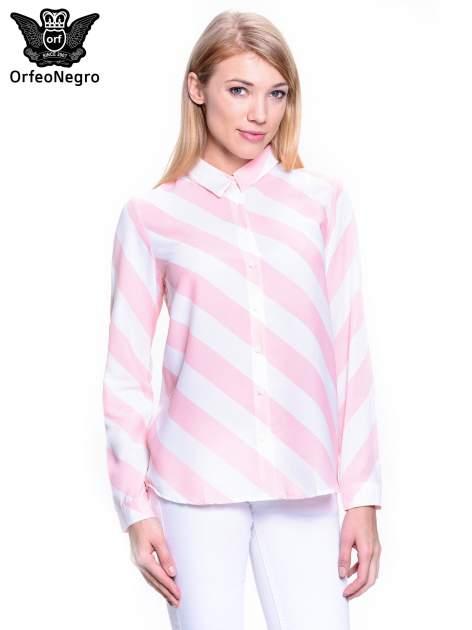 Różowo-biała koszula w skośne pasy