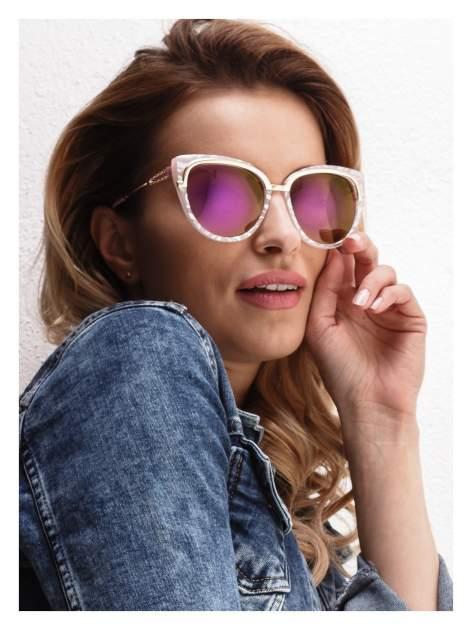 """Różowo-perłowo-złote okulary przeciwsłoneczne """"KOCIE OCZY"""""""