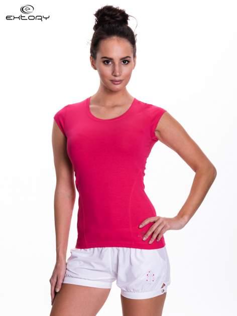Różowy damski t-shirt sportowy basic