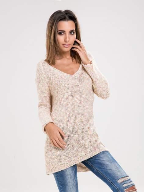 STRADIVARIUS Beżowy długi sweter z melanżowej włóczki