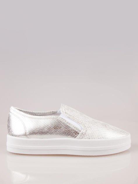 Srebrne buty slip-on na grubej podeszwie