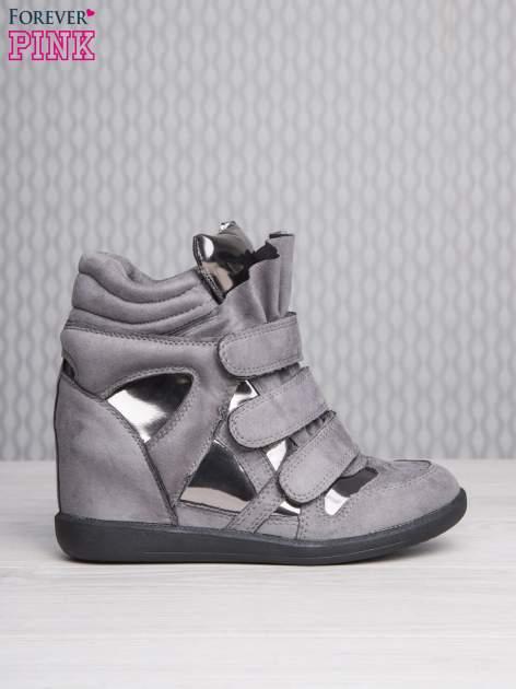 Srebrne zamszowe sneakersy damskie na rzepy z lustrzanymi wstawkami