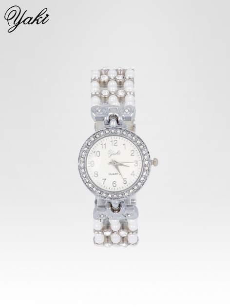 Srebrny biżuteryjny zegarek na bransolecie z cyrkoniami