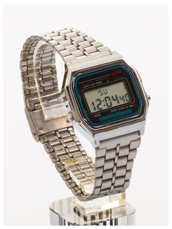 Srebrny elektroniczny zegarek damski w stylu retro
