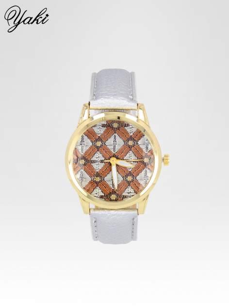 Srebrny zegarek damski ze złotą kopertą i etno tarczą