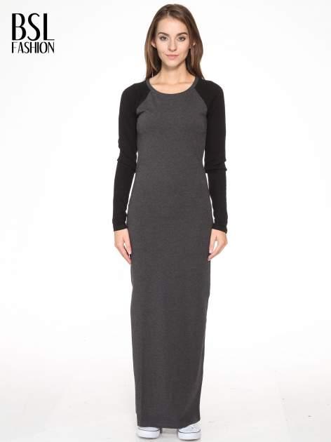 Szara dresowa sukienka maxi z czarnymi reglanowymi rękawami