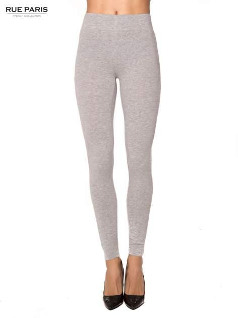 Szare bawełniane legginsy z kontrastowym pasem wzdłuż nogawki