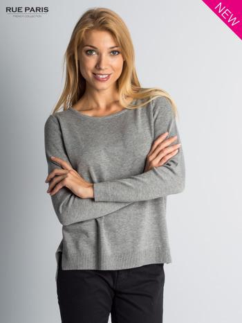 Szary sweter z rozporkami i dłuższym tyłem