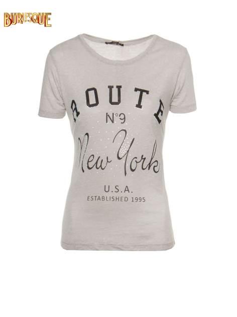 Szary t-shirt z napisem ROUTE NEW YORK