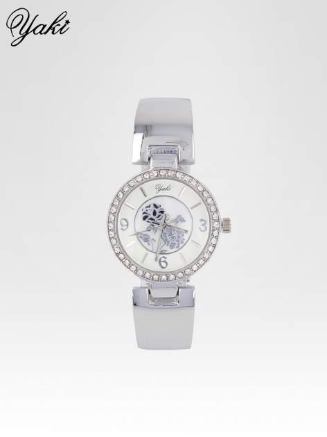 Zegarek damski z cyrkoniami na srebrnej bransolecie