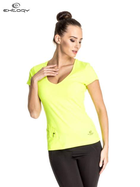 Zielony damski t-shirt sportowy z kieszonką