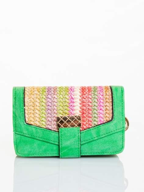 Zielony portfel z plecionką