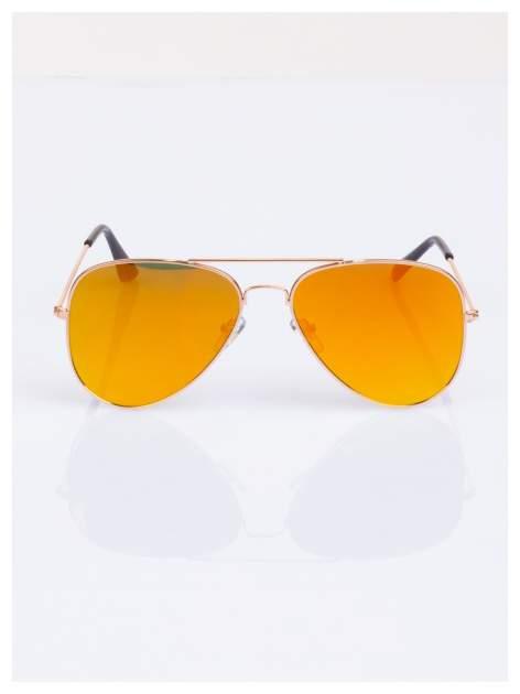 Złote AVIATORY okulary przeciwsłoneczne pilotki lustrzanki