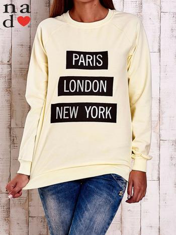Żółta bluza z napisem PARIS LONDON NEW YORK