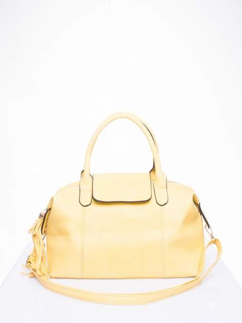 Żółta torba z klapką i odpinanym paskiem