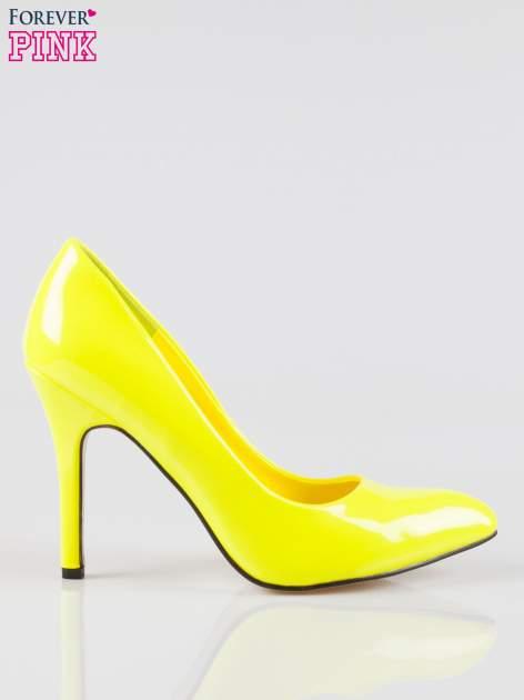 Żółte lakierowane szpilki w szpic