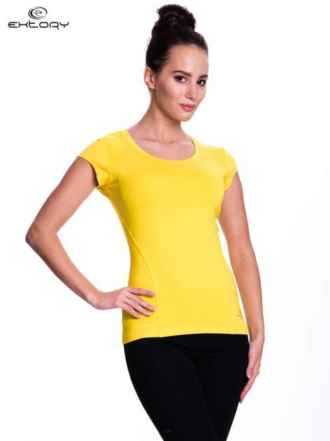 Żółty damski t-shirt sportowy basic