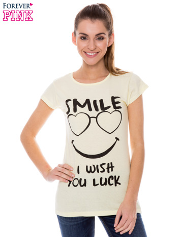 Żółty t-shirt z nadrukiem SMILE
