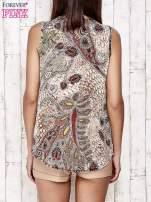Beżowa bluzka koszulowa w etniczne motywy