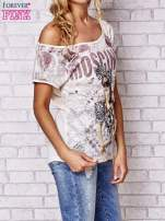 Beżowy t-shirt z napisem MOSCINO