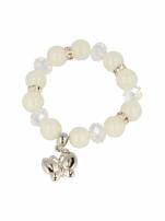 Biała Bransoletka koralikowa z zawieszką w kształcie motylka