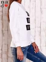 Biała bluza z napisem PARIS LONDON NEW YORK