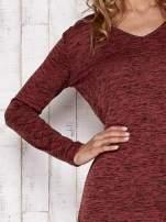 Bordowa melanżowa bluzka z przedłużanym tyłem