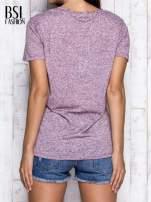Bordowy melanżowy t-shirt z okrągłym dekoltem