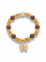 Brązowa Bransoletka koralikowa z  zawieszką