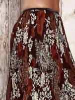 Brązowa plisowana spódnica midi z brokatem
