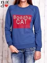 Ciemnoniebieska bluza z napisem BODDHA CAT