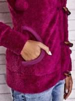 Ciemnoróżowa bluza misiek z kapturem i pomponami