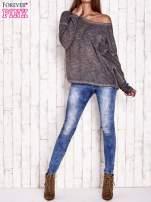 Ciemnoszara dekatyzowana bluzka z koronkowymi wstawkami
