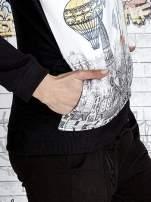 Czarna bluza z kapturem i nadrukiem balonów